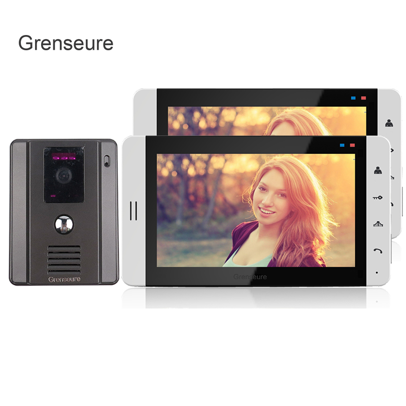 FREE SHIPPING Home 7 Color TFT Touch Video Doorphone Intercom Kit / Set With 2 White Screen + Night Vision Door Camera IN STOCK free shipping new wired 7 color tft touch screen video doorphone intercom 1 white monitor night vision door camera in stock
