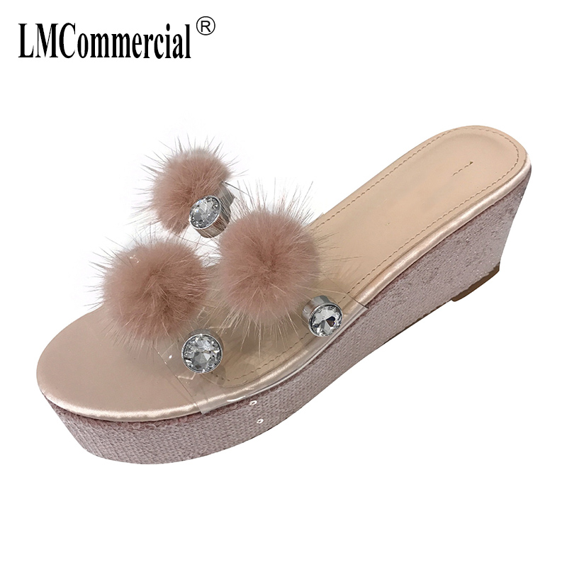 Transparent Pearl thick bottom slope with slippers female summer fashion hundred off wear slippers female Sexy Peep Toes Woman