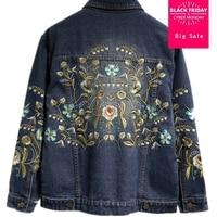 Fashion Denim Jackets Plus Size Floral Embroidery Short Jacket Coat Spring Summer Women Outwear 3XL 4XL 5XL L240