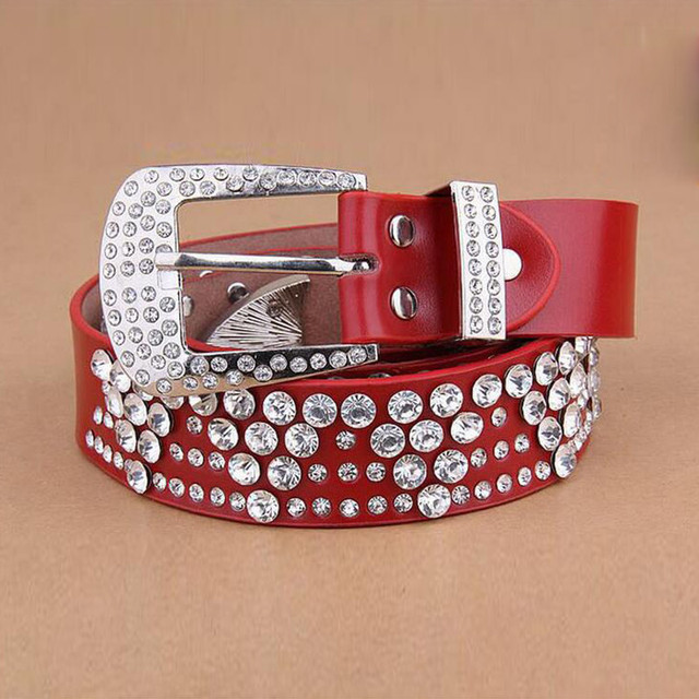 New Fashion Rhinestone Lengthen Belt  Women Leather Belt Inlaid Crystal Belt 5 Colors Size 108-125cm Free Shipping