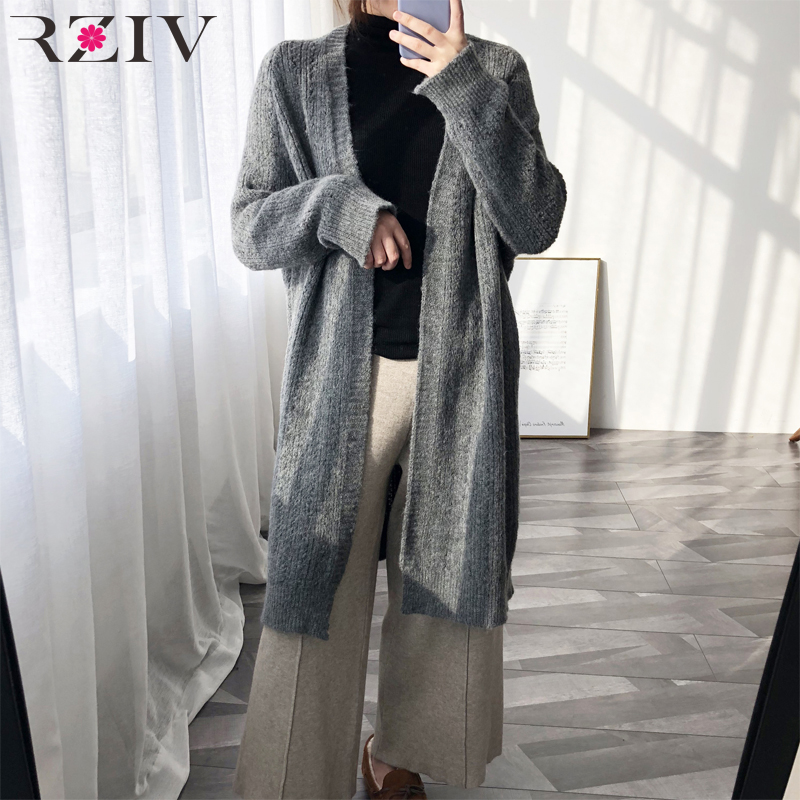 RZIV Spring Women's Sweater Casual Solid Color Cardigan Long Sweater