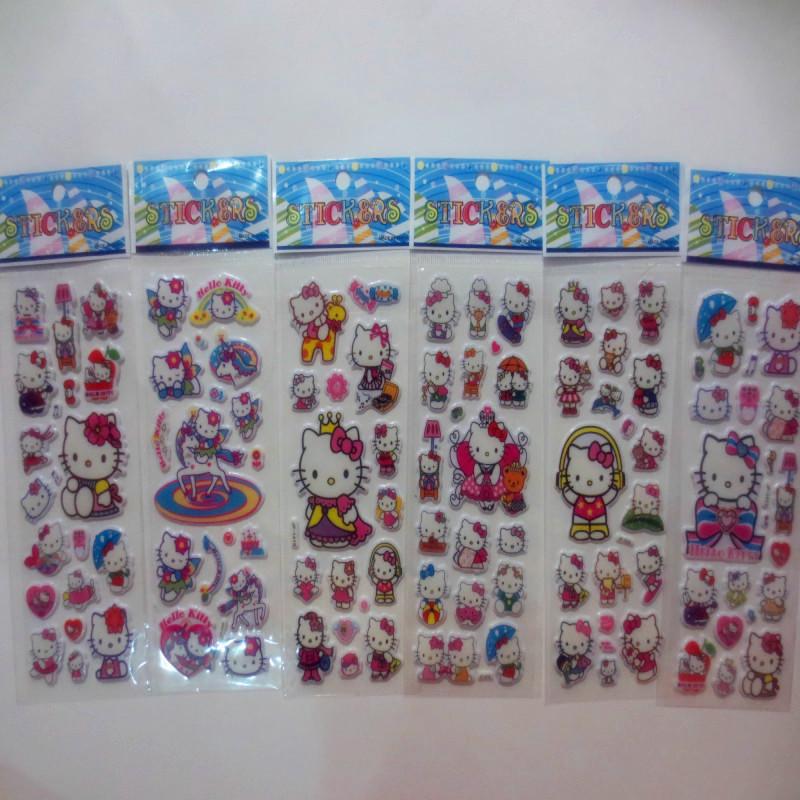 6 Sheets Set Cartoon Hello Kitty Stickers 3d Foam Animals Cat