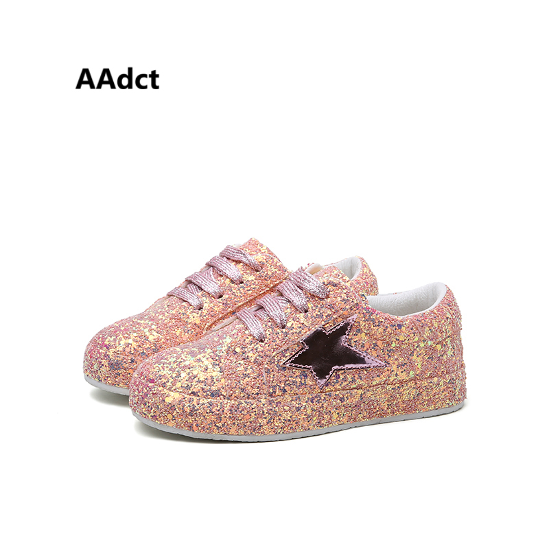 AAdct 2017 New Fashion Party Star Children Shoes Casual Sports Boys Sneakers Sequins Glett Princess Girls