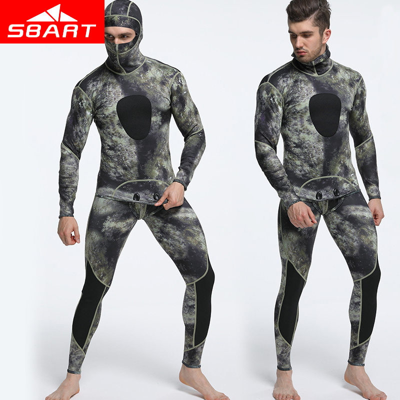 SBART Professional 1.5MM Neoprene Wetsuit Men Pesca Diving Spearfishing Wetsuit Two-Piece Diving Suit Surf Snorkel Swimsuit sbart 3mm neoprene diving wetsuit men