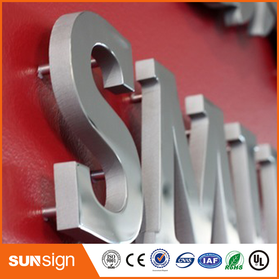 China supplier 3d led stainless steel metal letter sign