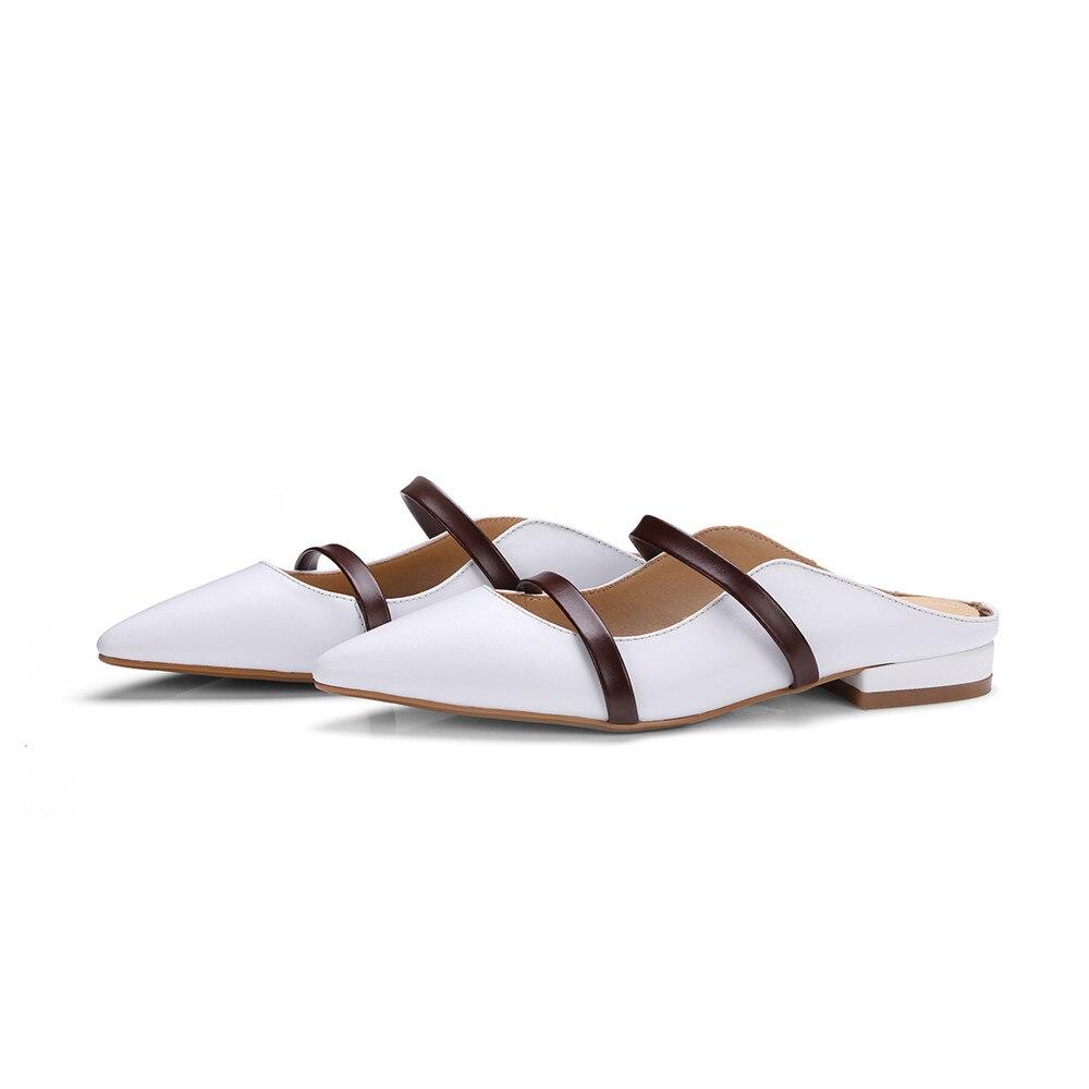 Apricot Weiß Frühling Casual Leder Damen Schuhe Flache weiß Mode schwarzes Spitz Herbst Frauen Echtem Schwarz Hausschuhe Asumer Maultiere Zqwx5zt5