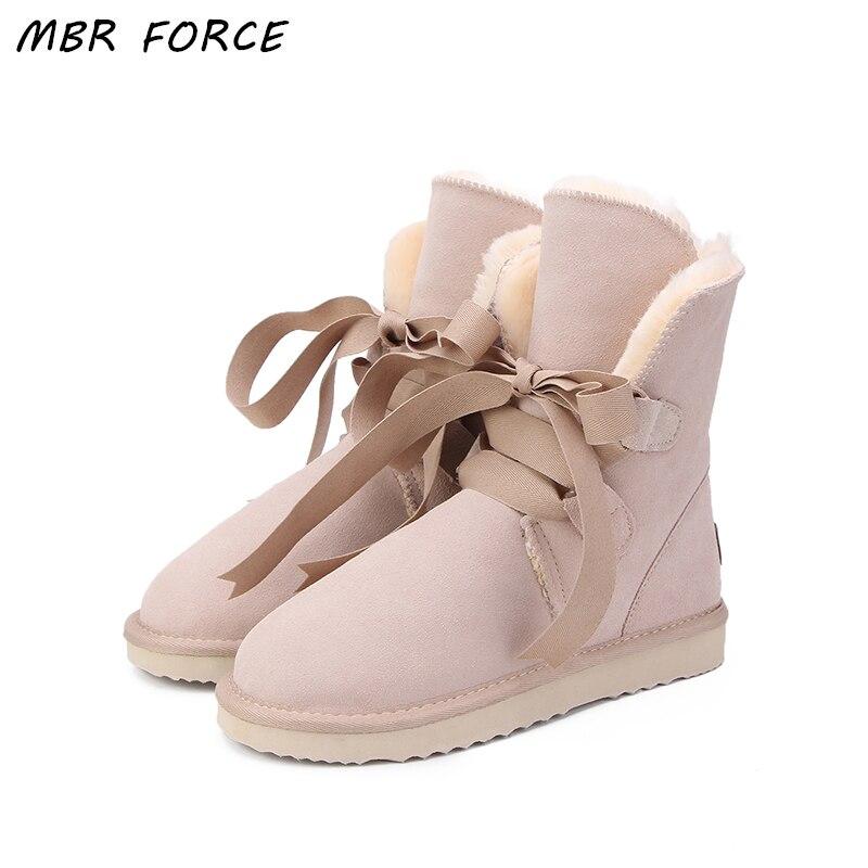 MBR FORCE Nouveau Top Qualité Mode Femmes Neige Bottes En Cuir Véritable Bottes D'hiver Chaud Femmes Bottes 12 Couleur chaussures NOUS 3-13