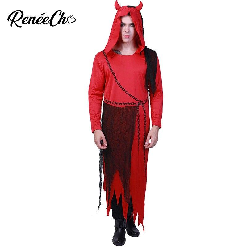 Halloween Costume For Adult Men Devil Costume Horror Demon Robe Hood Cosplay Plus Size Vampire Costume Ghost Fancy Dress
