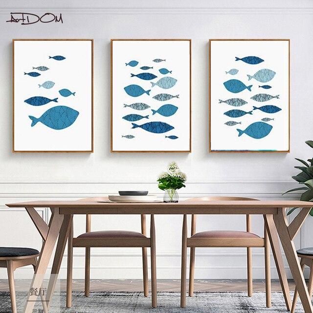 US $7.32 18% OFF Artdom Kein Rahmen Tier Cartoon Blue Fish Leinwandbilder  Haus Mode für Schlafzimmer Wohnzimmer Wand in Artdom Kein Rahmen Tier ...