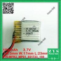 ¿1 Uds? Batería de iones de litio 3 7 v 150Ah Tamaño del 3 7 v  150 mAh de la batería recargable: 6 5x17x23mm