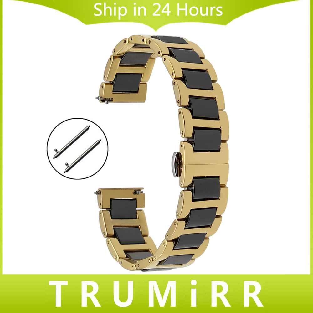 Ceramic + Stainless Steel Watchband Universal Quick Release Watch Band Butterfly Clasp Wrist Strap 12mm 14mm 16mm 18mm 20mm 22mm 16mm 18mm 20mm 22mm ceramic and stainless steel watchband bracelet rose gold white watch band watch strap butterfly buckle clasp