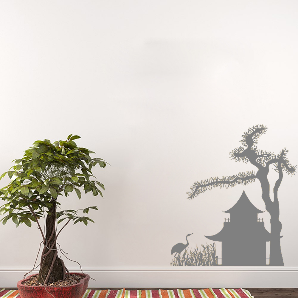 >Art <font><b>Japanese</b></font> <font><b>House</b></font> Tree Bird Wall Vinyl Sticker Pattern Decals Mural Living Room Wall Design Wallpaper DIY Removable PosterLC088