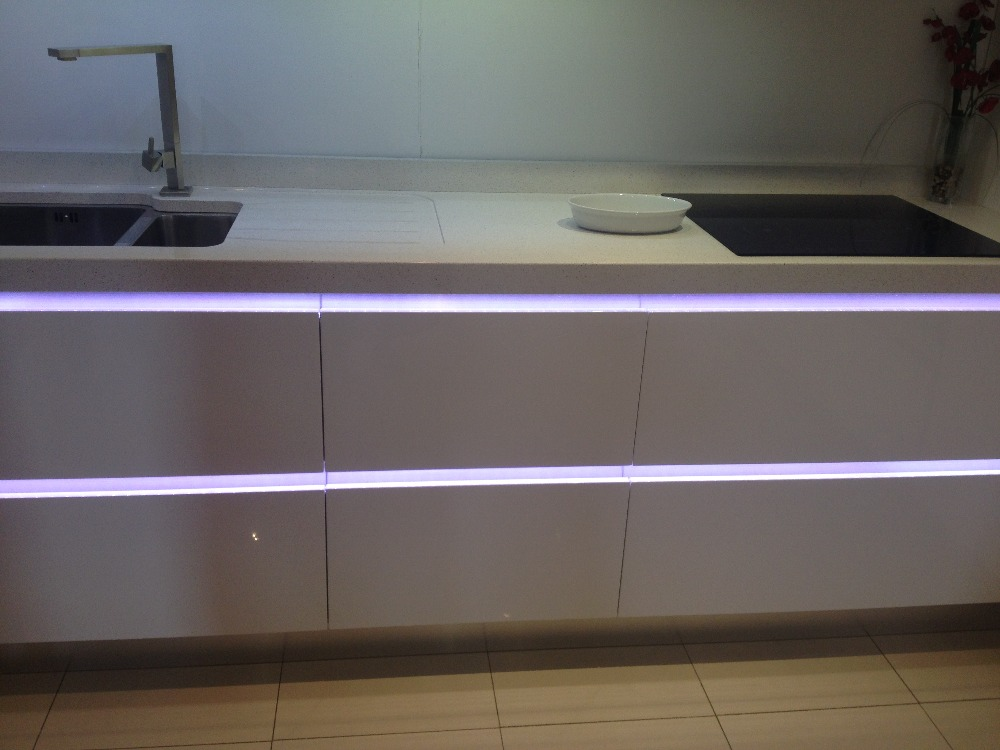 handle free kitchen cabinet with led light on aliexpress
