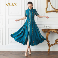VOA Silk Slim Shirt Dress Women Long Party Dresses Plus Size 5XL Boho Cyan Print Vintage