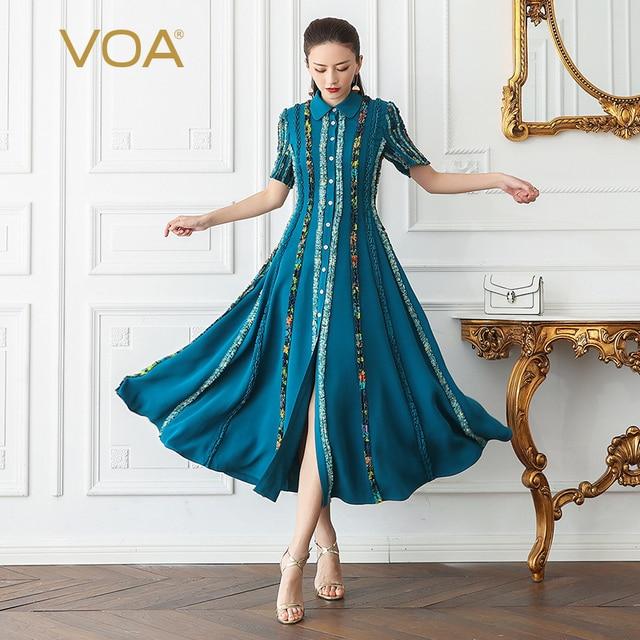 b57ae08bf9d VOA Silk Slim Shirt Dress Women Long Party Dresses Plus Size 5XL Boho Cyan  Print Vintage Elegant Summer Short Sleeve A506