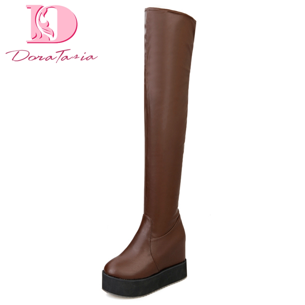 Doratasia Large Sizes 32 43 Women Shoes Woman street style long over knee Boots Fashion platform inner high heels Woman Shoes