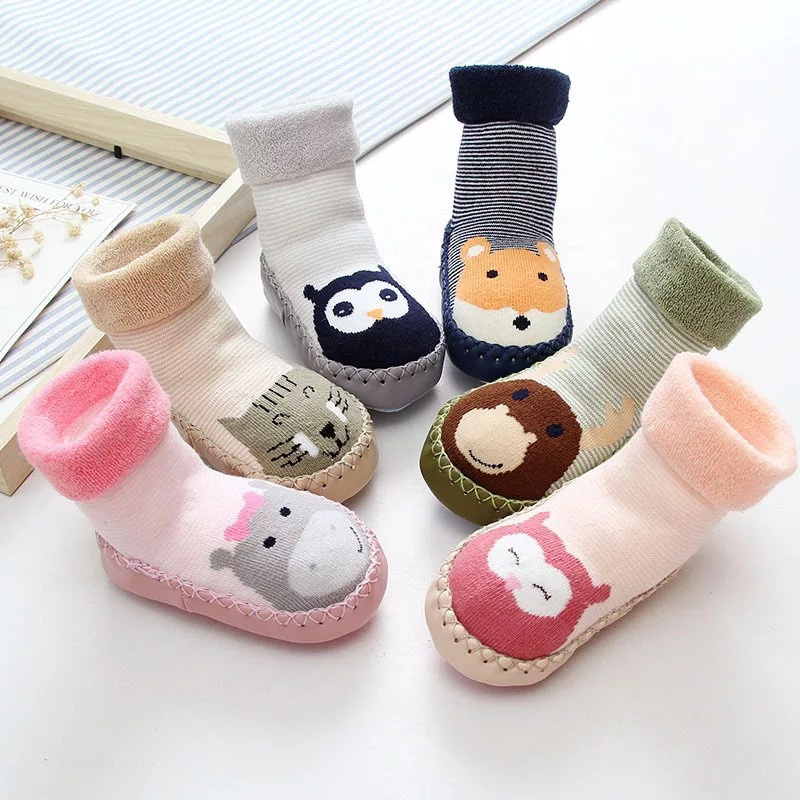 Infant Socks For Baby Warm Booties Sock With Rubber Soles For Toddler Newborn Baby Girl Boy Socks Kids Winter Sock Terry Sliper