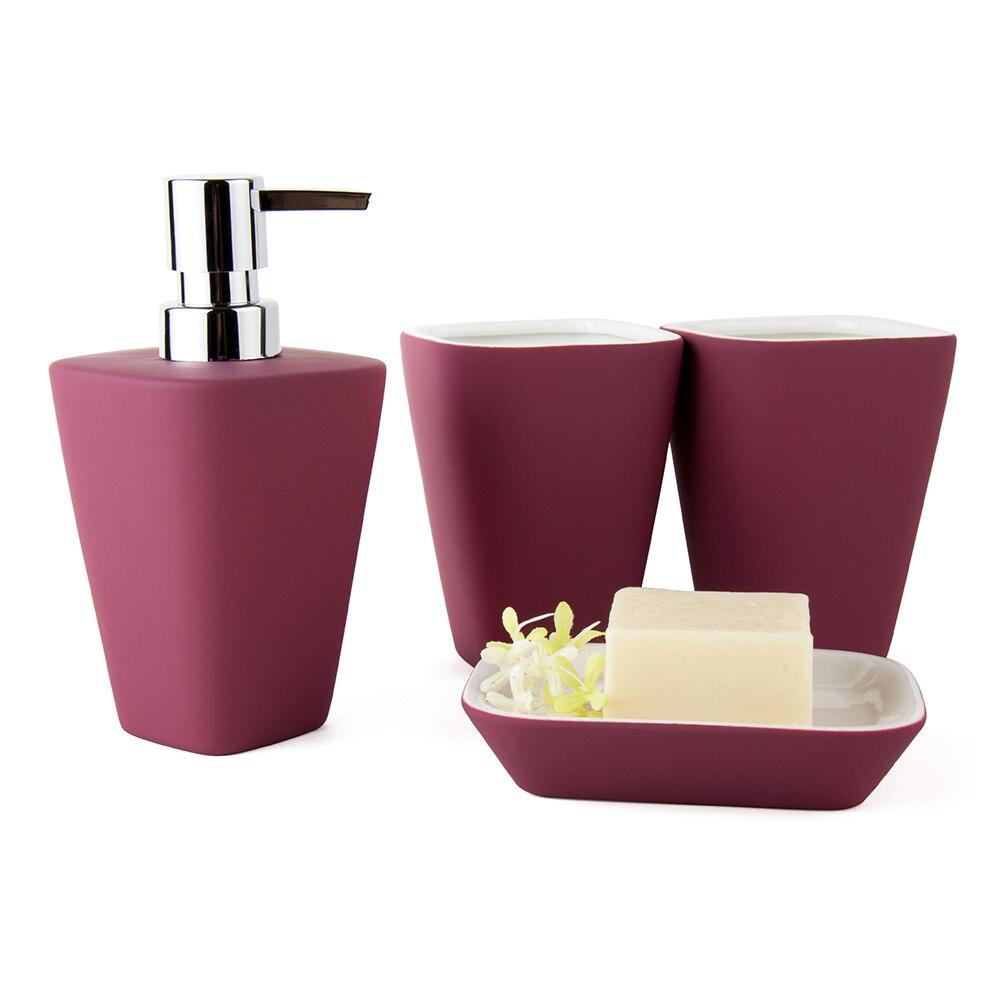 2016 european ceramic bathroom set four pieces set bath set bathroom supplies nordic style rubber paint - Magenta Bathroom 2016