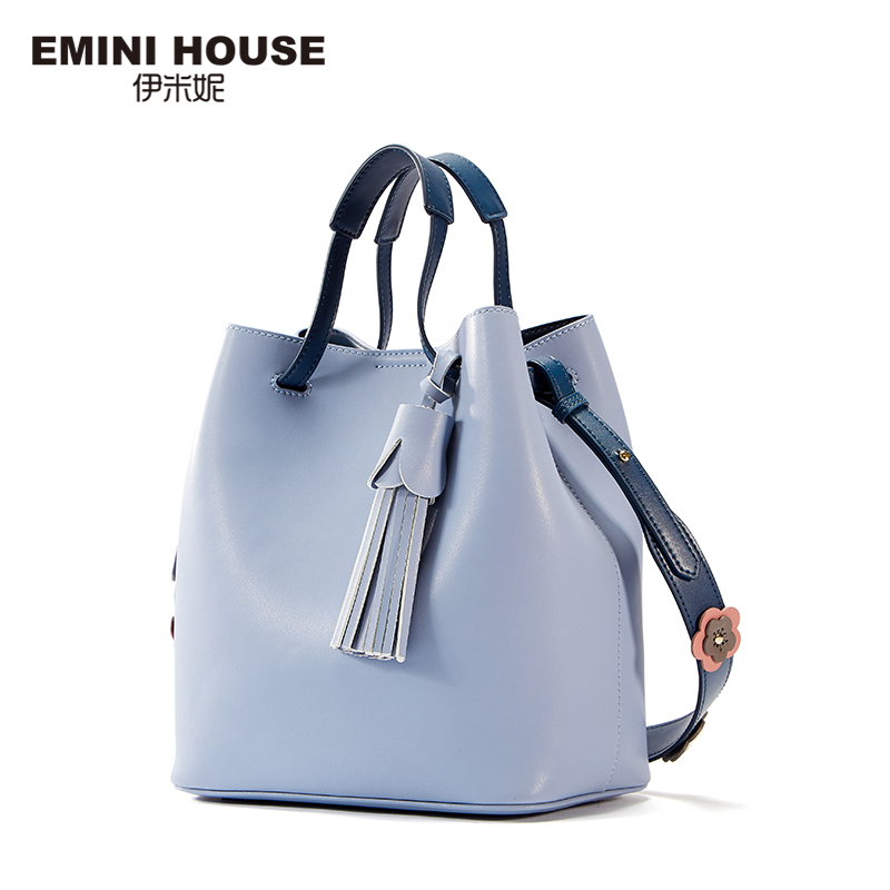 EMINI HOUSE Bucket Tote Bag Split Leather Luxury Handbags Women Bags Designer Tassel Shoulder Bag Roomy Crossbody Bags for Women giaevvi luxury handbags split leather tote women messenger bags 2017 brand design chain women shoulder bag crossbody for girls
