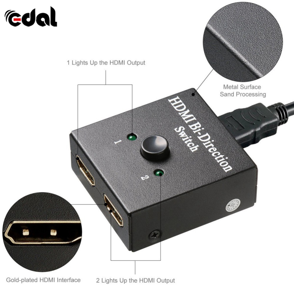 EDAL HDMI Switcher 2 Ports bi-direction Interrupteur Manuel 2x1 HDMI Hub-HDCP Passthrough-Prend En Charge ultra HD 4 k 1080 p HDMI Convertisseurs