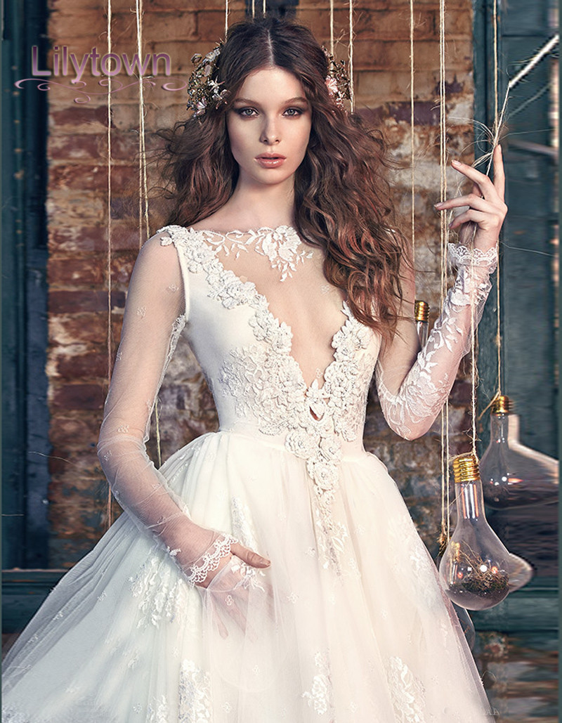 beaded lace wedding dress with plunging neckline style swg p plunging neckline wedding dress Beaded Lace Wedding Dress with Plunging Neckline Style SWG