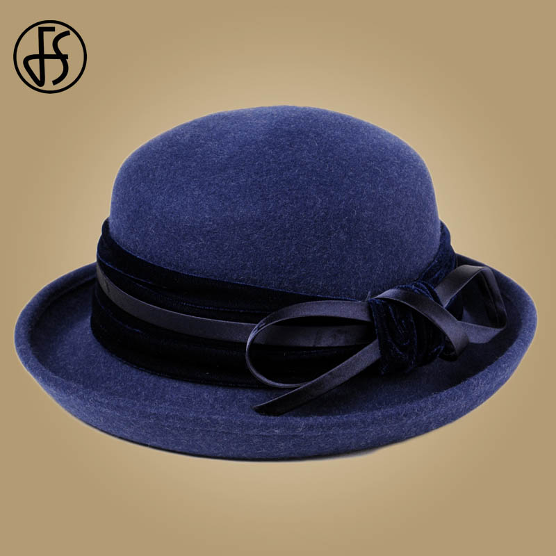 717003c1fc FS Navy Blue 100% Wool Felt Hats For Women Wide Brim Fedora Hats Ladies  Formal Retro Bowler Round Hat Bowknot Floppy Church Caps-in Fedoras from  Apparel ...