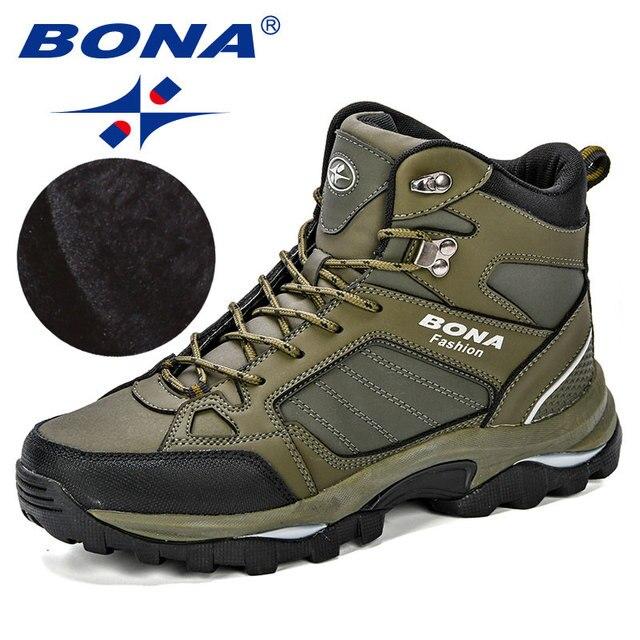 BONA Мужские ботинки анти-скольжения кожаной обуви Для мужчин популярные удобные Демисезонный Мужская обувь короткие плюшевые ботильоны на ... 2