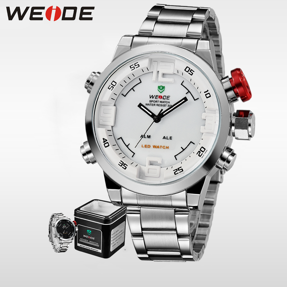 WEIDE Sport Watch boxStainless Steel Quartz Watches Men  LED Digital Casual Luxury Brand Waterproof Masculino alarm clock WH2309 weide luxury brand quartz sport relogio digital masculino watch stainless steel analog men automatic alarm clock water resistant