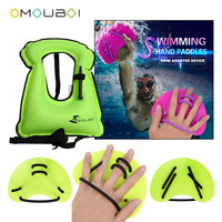 2018 OMOUBOI Green Swimming Diving Stroke Training Webbed Gloves Hand Paddles Fins With Secure Float Life Safety Jacket Vest
