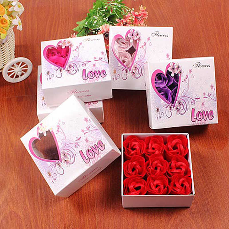 New Party Favors 9pcs Rose Soap Flower Simulation Flower Wedding Gifts For Guests Valentine's Day Present Bridesmaid Gift