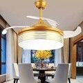 Лампа-вентилятор с освещением современный простой светодиодный вентилятор 4 невидимые выдвижные лопасти вентилятора с пультом дистанцион...