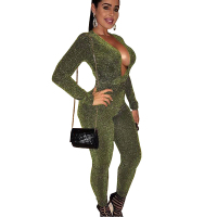 Bling Bling Woman Jumpsuit Long Pants Sleeve Deep V neck Body Suit For Women's 2017 Club Cocktail Party Rompers WS4227Z