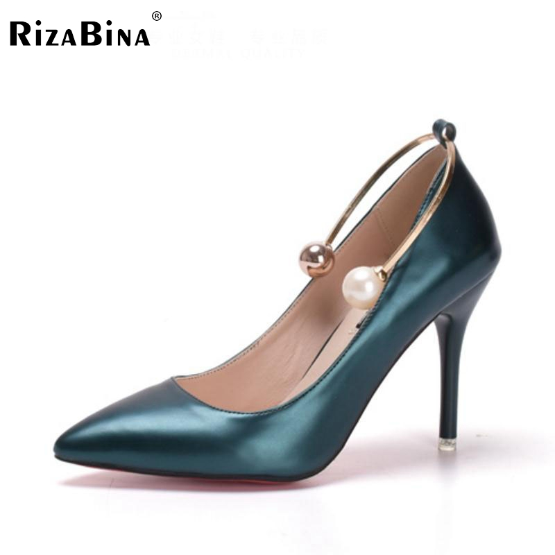 Ladies High Heel Shoes Pointed Toe Pumps Pearl Mixed Color Thin Heels Shoes Women Classics Metal Daily Lady Footwear Size 34-39 lady s pumps high thin heel spike heels mixed colors metal buckle elegant concise women wedding shoes 2015 high heels