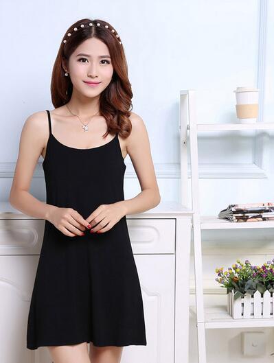 2016 de moda de verano ropa de spandex resbalones de cuerpo completo para las mujeres intimates slip sexy mujeres ropa de noche negro rojo