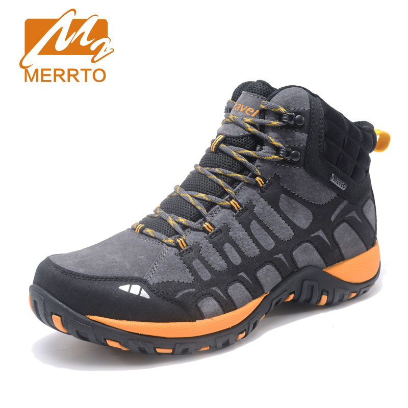 Merrto 2018 Hiking Shoes Men Genuine Leather Outdoor Breathable Hiking Boots Men Trekking Shoes Camping Walking Climbing Shoes 2018 hiking boots 2017rax spring summer hiking shoes men breathable outdoor 3 8women antiskid walking shocking offroad climbing