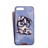 Sevimli Köpek ve Kedi El Yapımı Nakış Denim Shell Kılıf iphone 6 Artı/6 s Artı 5.5