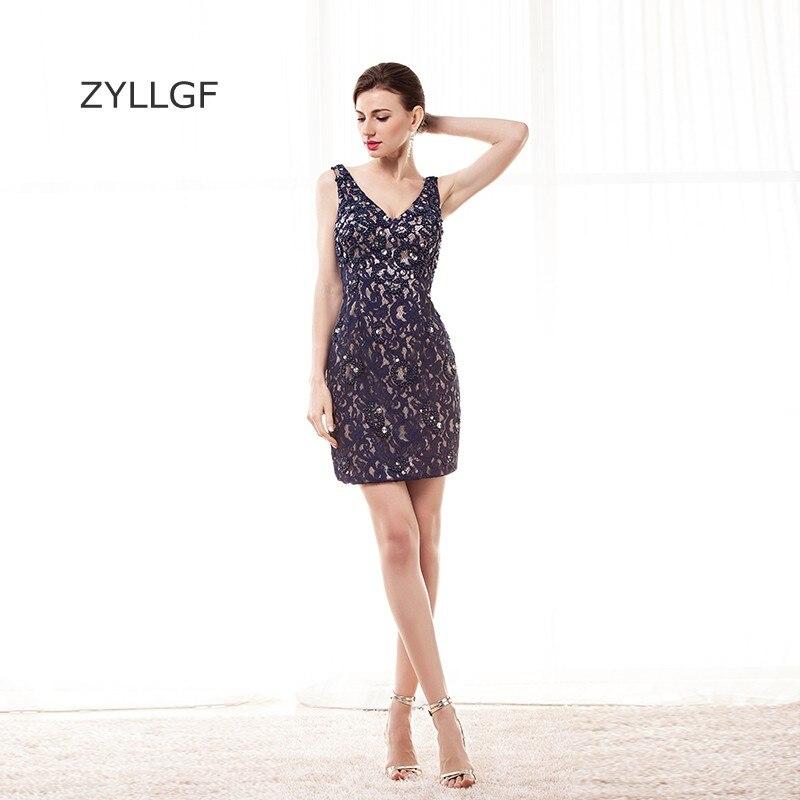 ZYLLGF Sexy dentelle mère robes gaine col en V courte Mini mère robes femmes robe de soirée avec perles Q123