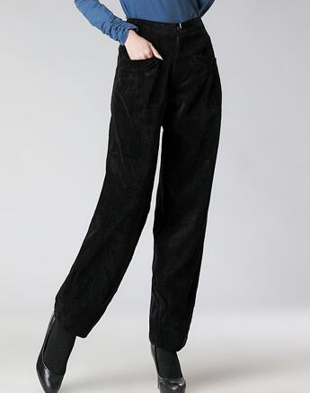 fine quality volume large hot-selling US $40.03 9% OFF|Corduroy pants for women plus size high waist loose casual  harem pants for women pleated autumn spring winter black seb0601-in Pants  ...