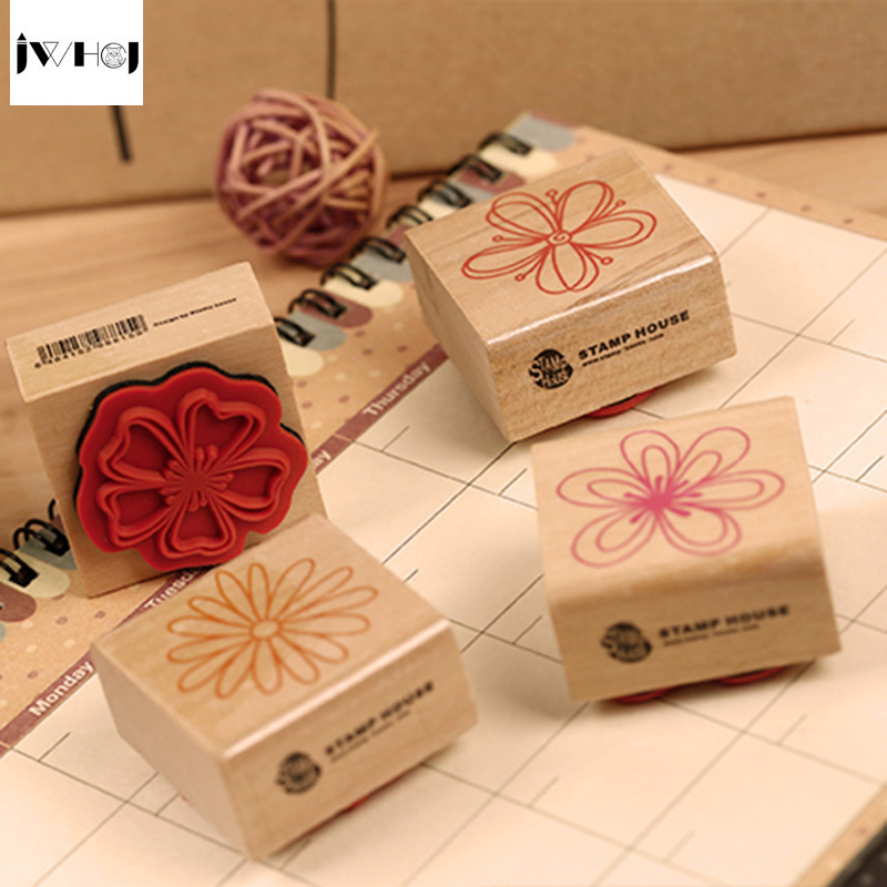 JWHCJ 4pcs/set flowers wooden rubber stamp for Kids DIY Handmade Scrapbook Photo Album students Stamps Arts,Crafts gifts jwhcj vintage cat date wood roller stamps for children diy handmade scrapbook photo album diary book decoration students stamps