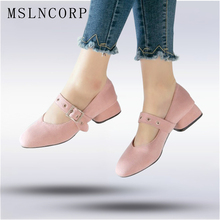 Plus Size 34-48 Spring Women Mary Janes Shoes Square Toe Buckle Shoes Med Square Heels Zapatos Mujer Casual Loafers Shoes lily embroidery women loafers shoes chinese style old peking mary janes button strap casual flats plus 41 dance cloth shoes