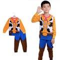2015 Niños Toy Story Pijamas de Algodón de Manga Larga 2-7y Niños Ropa Conjuntos Niños Ropa de Dormir Pijamas de spiderman y Amigos