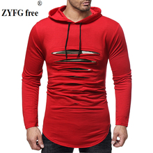 2019 Long sleeve hooded men t shirt spring summer T-shirt men Longline curved hem casual slim t-shirt streetwear tops Tees black round neck long sleeves curved hem t shirt