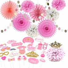 Girl Baby Shower Decorations Pink And Gold Princess Birthday Wedding Party Decoration Pom Poms Paper Fans Photo Props 11 Pieces