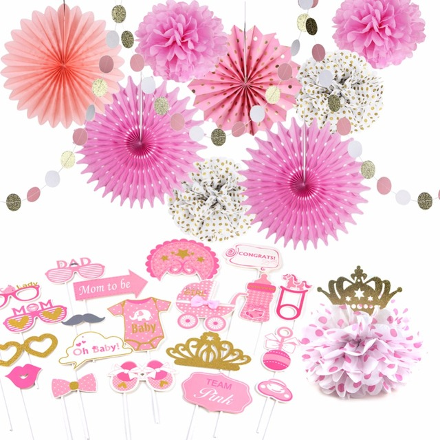 Girl Baby Shower Decorations Pink And Gold Princess Birthday Wedding