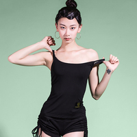 Latin DanceTops For Ladies Sexy Black Classical Ice Silk Tops Wear Tango Practice Arena Ballroom Dancing Shirt Clothes DQ13184