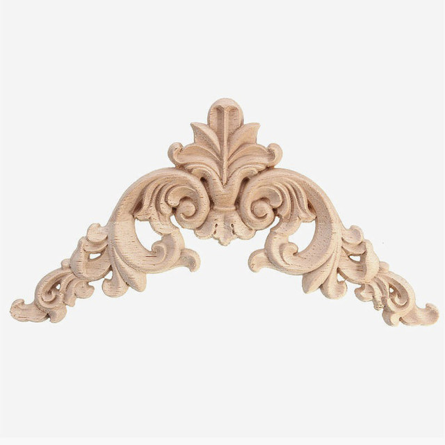 Home Decoration Accessories Furniture Appliques Woodcarving Corner Decal Wooden  Applique Decor Frame Wall Door Woodcarving Decal