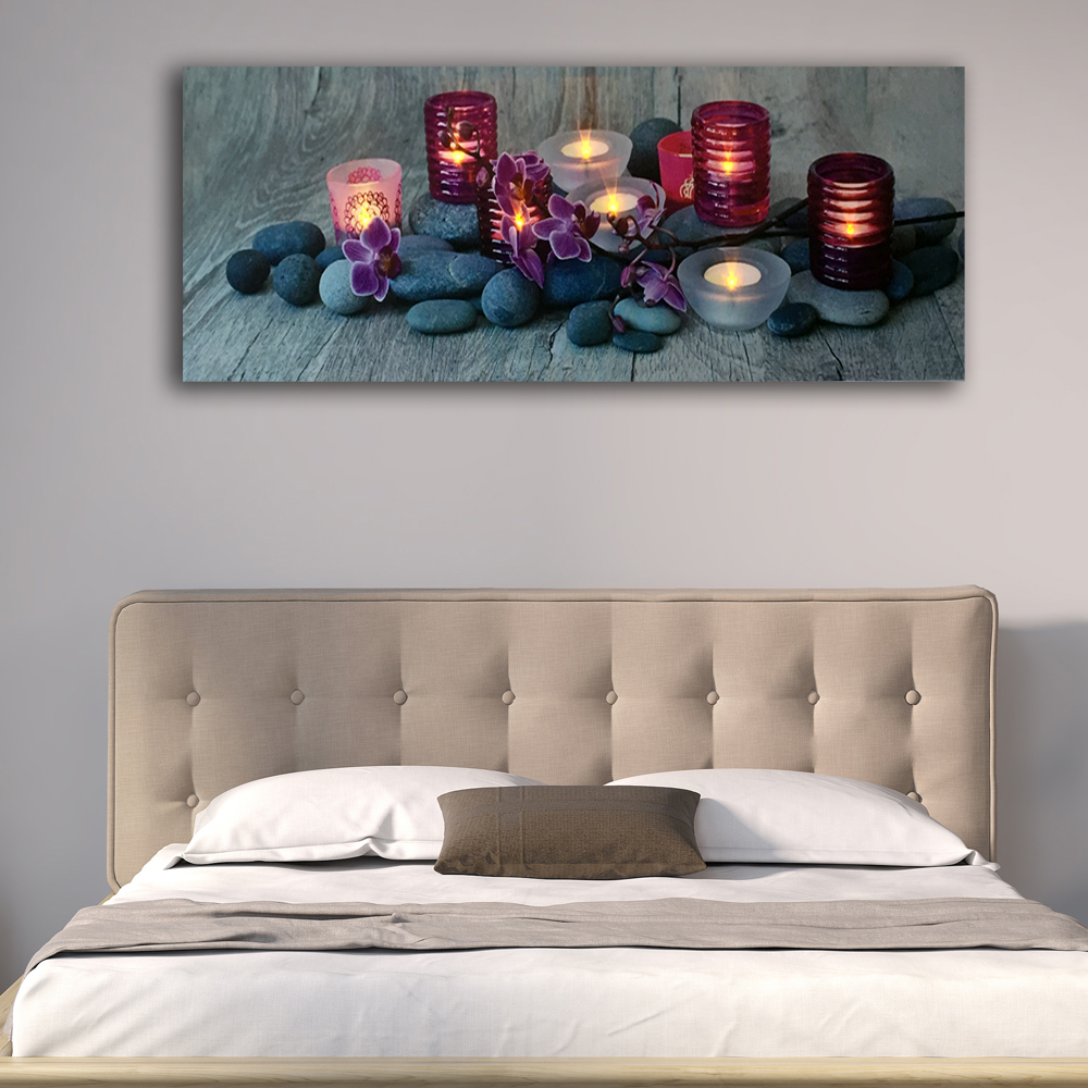 Led Wall Picture Orchid Flower Zen Spa Candles Stone Still