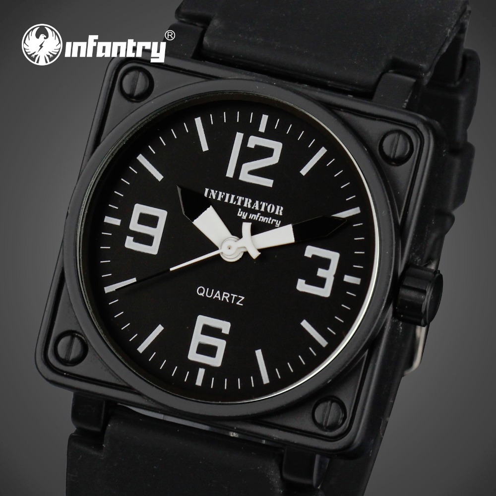 INFANTRY Mens Quartz watches Military Square Face Watches Analog Male Clock Tactical Army Black Silicone Band
