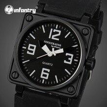 D'INFANTERIE Mens Quartz-montres Militaire Visage Carré Montres Analogique Homme Horloge Tactique Armée Noir Bande de Silicone Relogio Masculino