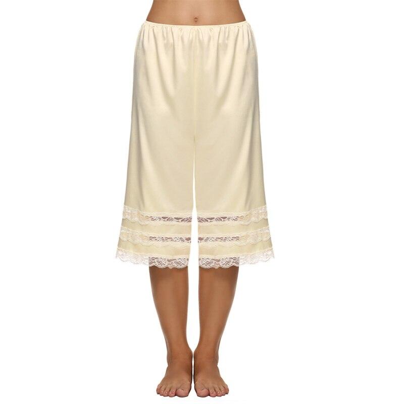 Женщины капри случайные штаны свободные эластичный пояс кружева обрезки лоскутные твердые брюки скользит брюки летом